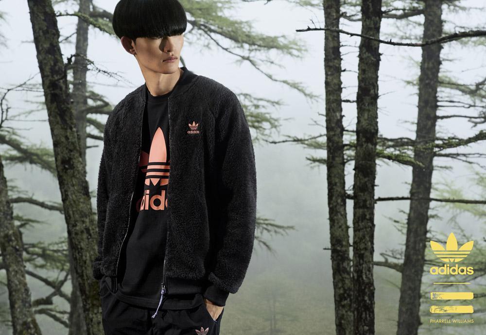 adidas Originals — Pharrell Williams Hu Hiking — pánská černá sportovní mikina — černé tričko
