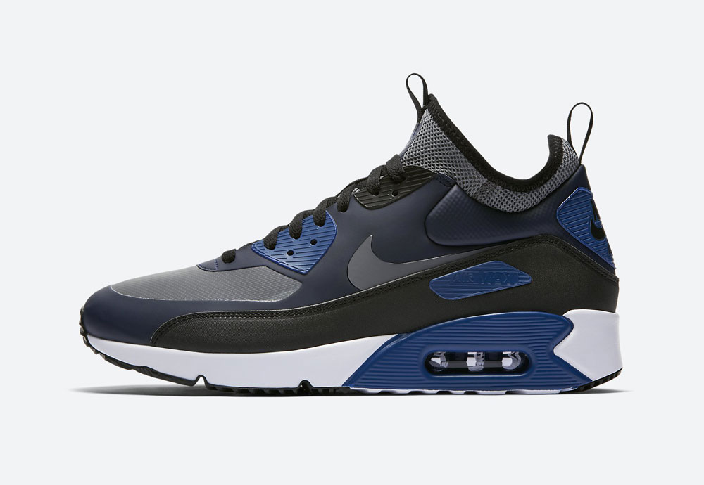 Nike Air Max 90 Ultra Mid Winter — zimní boty — modré — tenisky — Airmaxy — men's winter sneakers — blue
