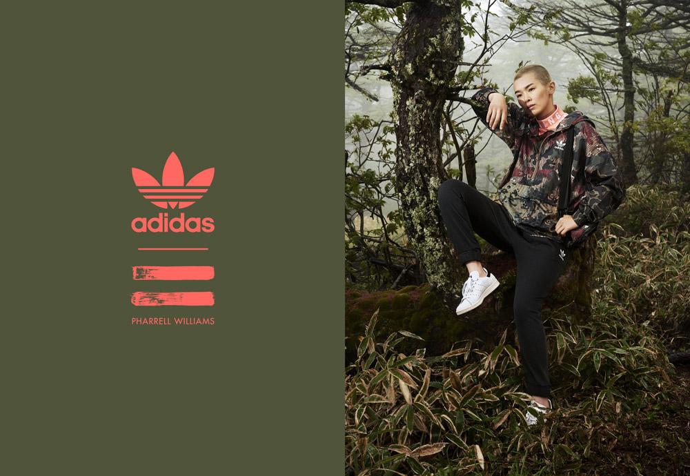 adidas Originals — Pharrell Williams Hu Hiking — dámská maskáčová sportovní bunda s kapucí — černé tepláky