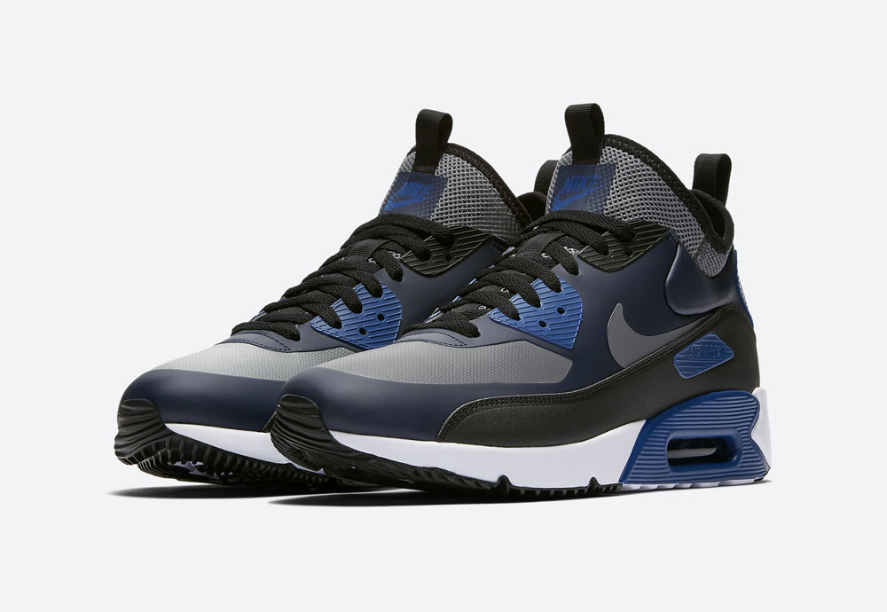 Nike Air Max 90 Ultra Mid Winter — pánské zimní boty — modré — tenisky — Airmaxy — men's winter sneakers — blue