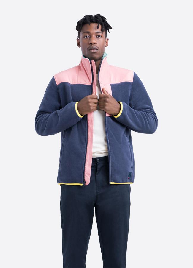 Herschel Supply — fleecová bunda se stojáčkem bez na zip bez kapuce — růžovo modrá — pánská —