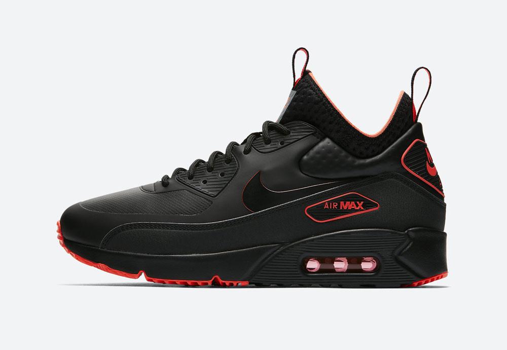 Nike Air Max 90 Ultra Mid Winter SE — zimní boty — černé, oranžové detaily — tenisky — Airmaxy — men's winter sneakers — black, orange details