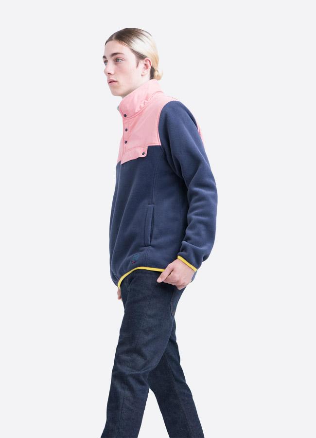 Herschel Supply — fleecový pullover se stojáčkem — bunda bez zipu — růžovo modrá — pánská