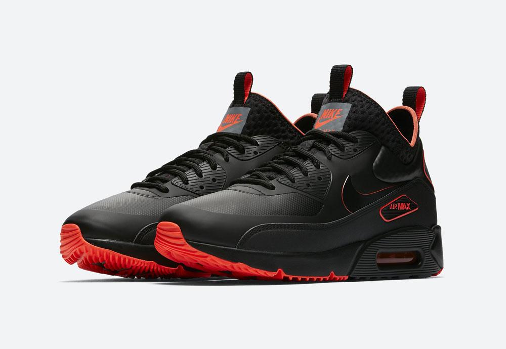Nike Air Max 90 Ultra Mid Winter SE — pánské zimní boty — černé, oranžové detaily — tenisky — Airmaxy — men's winter sneakers — black, orange details