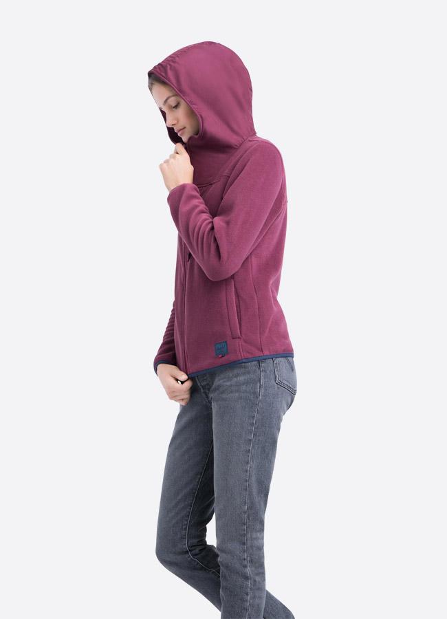 Herschel Supply — fleecová bunda na zip s kapucí — červená, bordó — dámská —