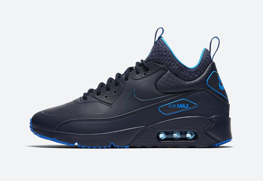 Nike Air Max 90 Ultra Mid Winter SE — zimní boty — černé, modré detaily — tenisky — Airmaxy — men's winter sneakers — black, blue details