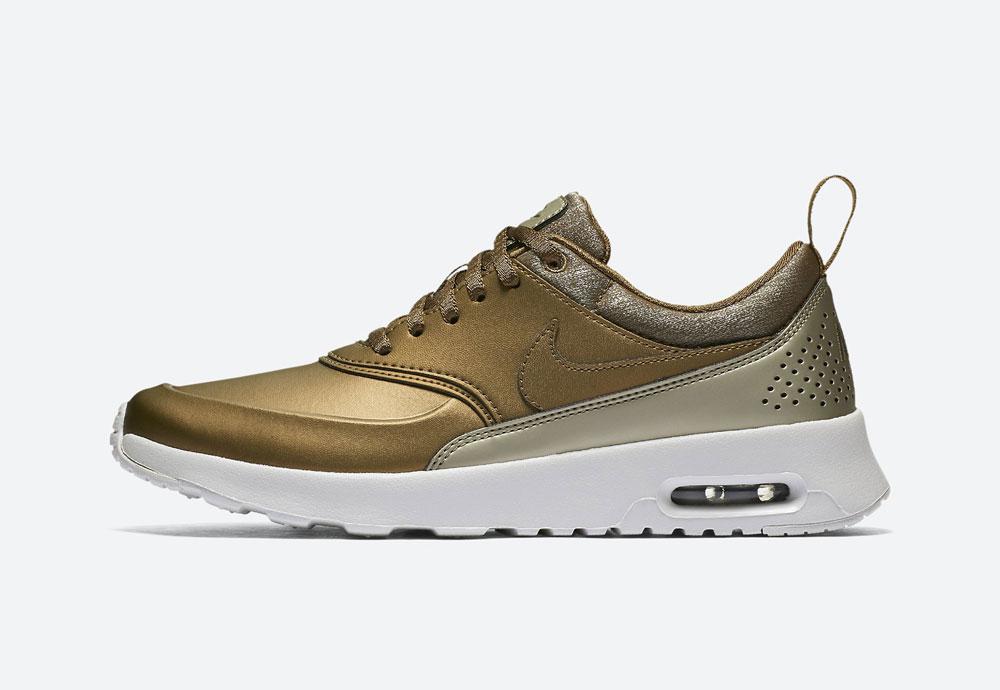 Nike Air Max Thea Premium Metallic — dámské boty — tenisky — metalické — hnědo-zelené — women's metallic mahogany sneakers