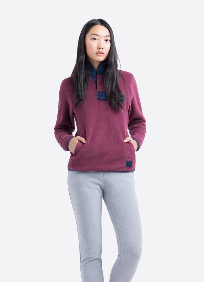 Herschel Supply — fleecový pullover se stojáčkem — bunda bez zipu — červená, bordó — dámská