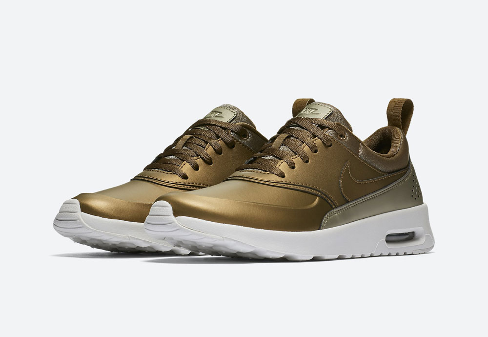 Nike Air Max Thea Premium Metallic — dámské tenisky — boty — metalické — hnědo-zelené — women's metallic mahogany sneakers