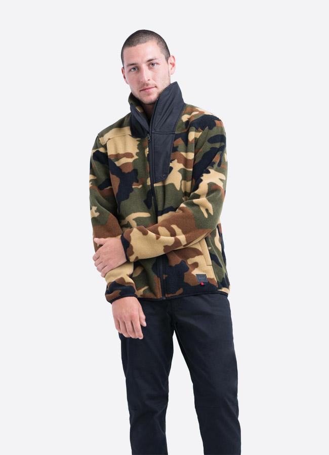 Herschel Supply — fleecová bunda se stojáčkem bez na zip bez kapuce — maskáčová — pánská —