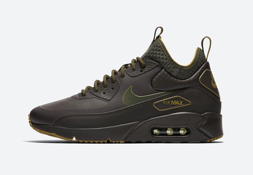 Nike Air Max 90 Ultra Mid Winter SE — zimní boty — tmavě hnědé — tenisky — Airmaxy — men's winter sneakers — dark brown