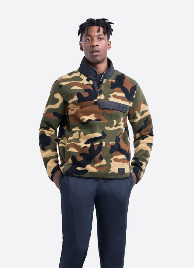 Herschel Supply — fleecový pullover se stojáčkem — bunda bez zipu — maskáčová — pánská