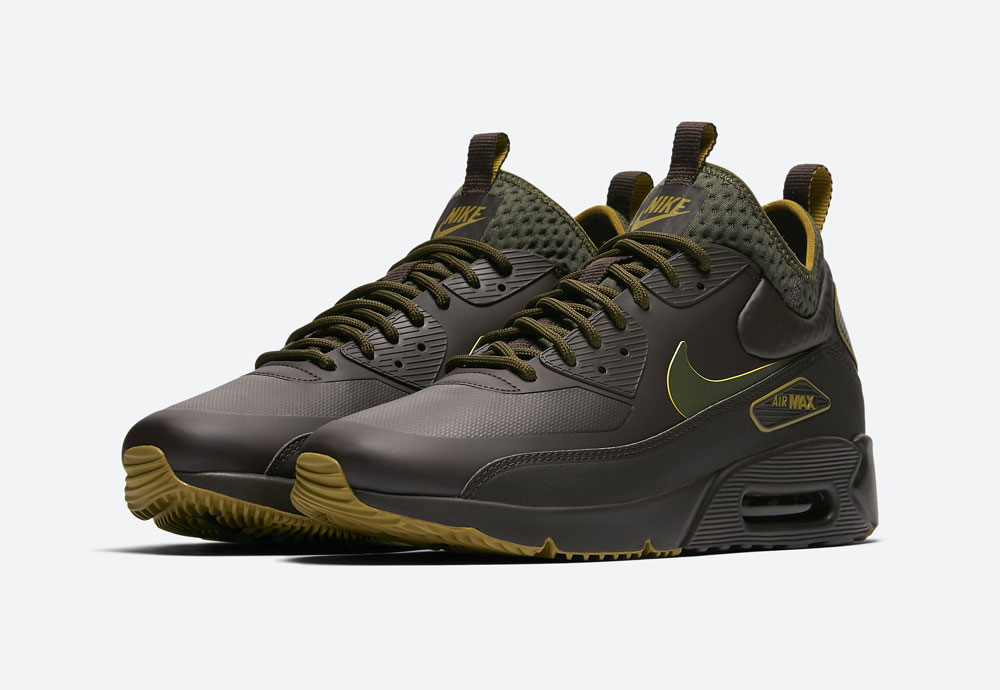 Nike Air Max 90 Ultra Mid Winter SE — pánské zimní boty — tmavě hnědé — tenisky — Airmaxy — men's winter sneakers — dark brown