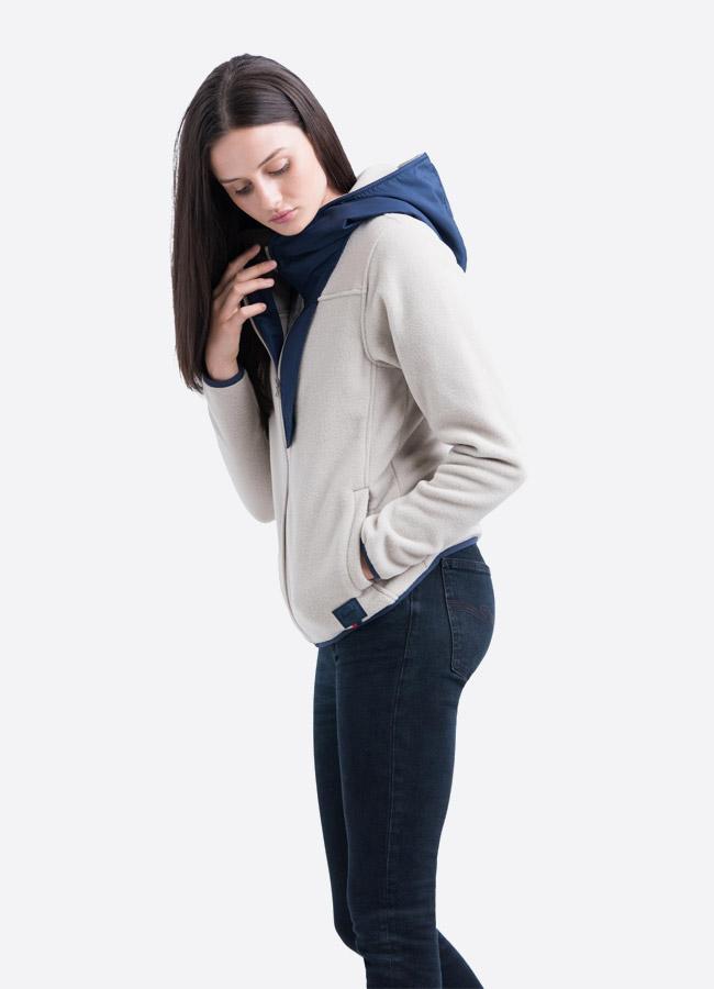 Herschel Supply — fleecová bunda na zip s kapucí — světle šedá — dámská —