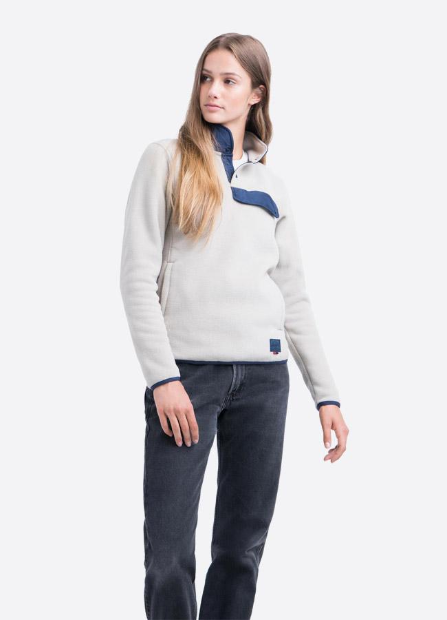 Herschel Supply — fleecový pullover se stojáčkem — bunda bez zipu — světle šedá — dámská