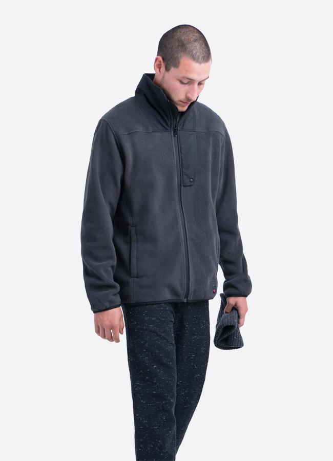 Herschel Supply — fleecová bunda se stojáčkem bez na zip bez kapuce — tmavě šedá — pánská —