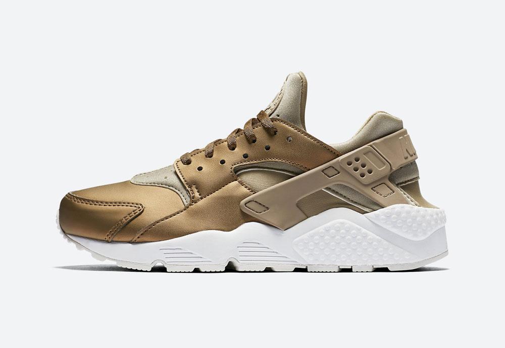 Nike Air Huarache Premium Metallic — dámské boty — tenisky — metalické — hnědo-zelené — women's metallic mahogany sneakers