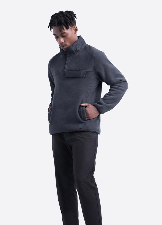 Herschel Supply — fleecový pullover se stojáčkem — bunda bez zipu — tmavě šedá — pánská