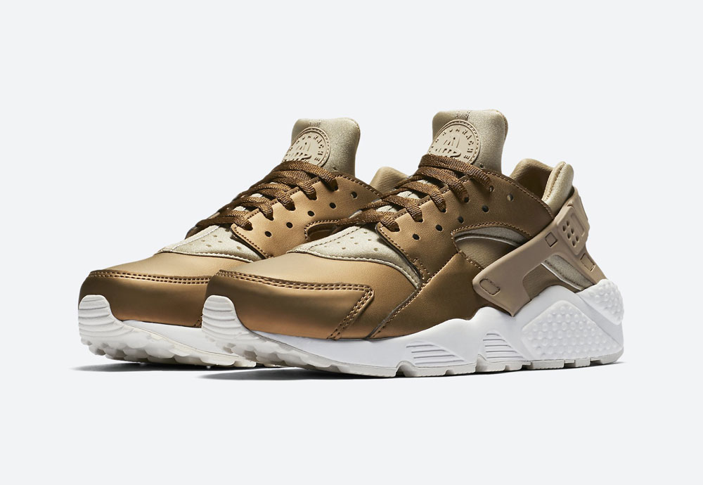 Nike Air Huarache Premium Metallic — dámské tenisky — boty — metalické — hnědo-zelené — women's metallic mahogany sneakers