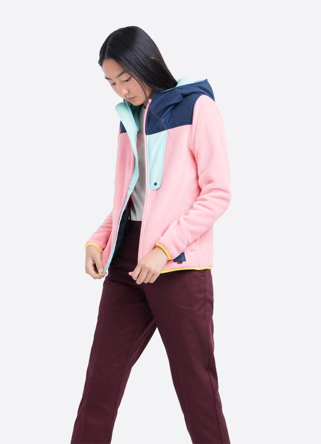 Herschel Supply — fleecová bunda na zip s kapucí — růžová — dámská —