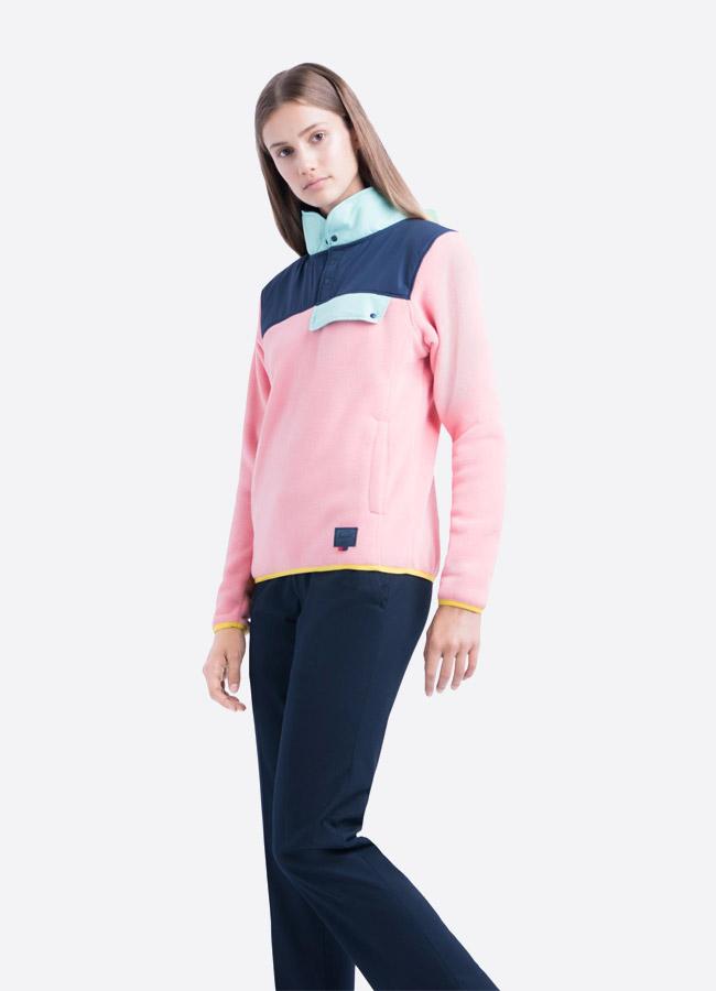 Herschel Supply — fleecový pullover se stojáčkem — bunda bez zipu — růžová — dámská