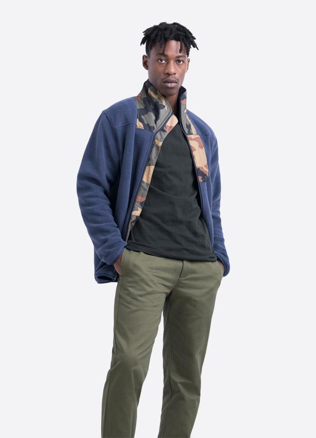 Herschel Supply — fleecová bunda se stojáčkem bez na zip bez kapuce — modrá — pánská —
