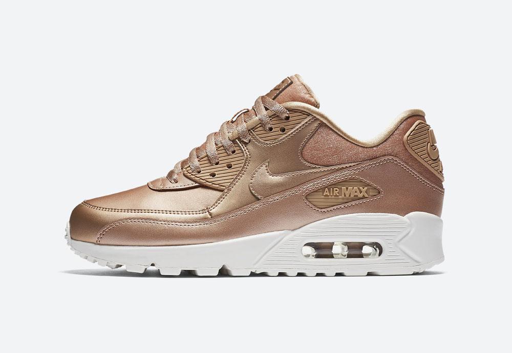 Nike Air Max 90 Premium Metallic — dámské boty — tenisky — metalické — bronzové — women's metallic red bronze sneakers