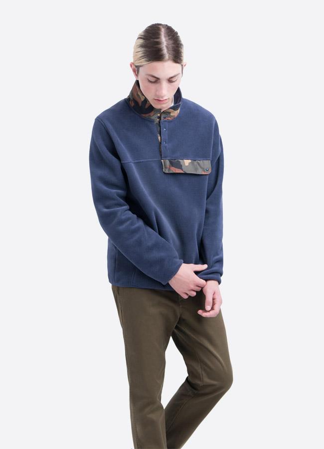 Herschel Supply — fleecový pullover se stojáčkem — bunda bez zipu — modrá — pánská
