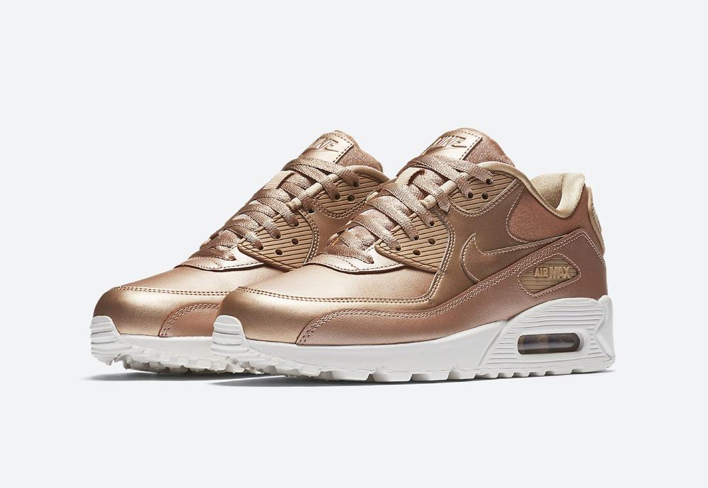 Nike Air Max 90 Premium Metallic — dámské tenisky — boty — metalické — bronzové — women's metallic red bronze sneakers