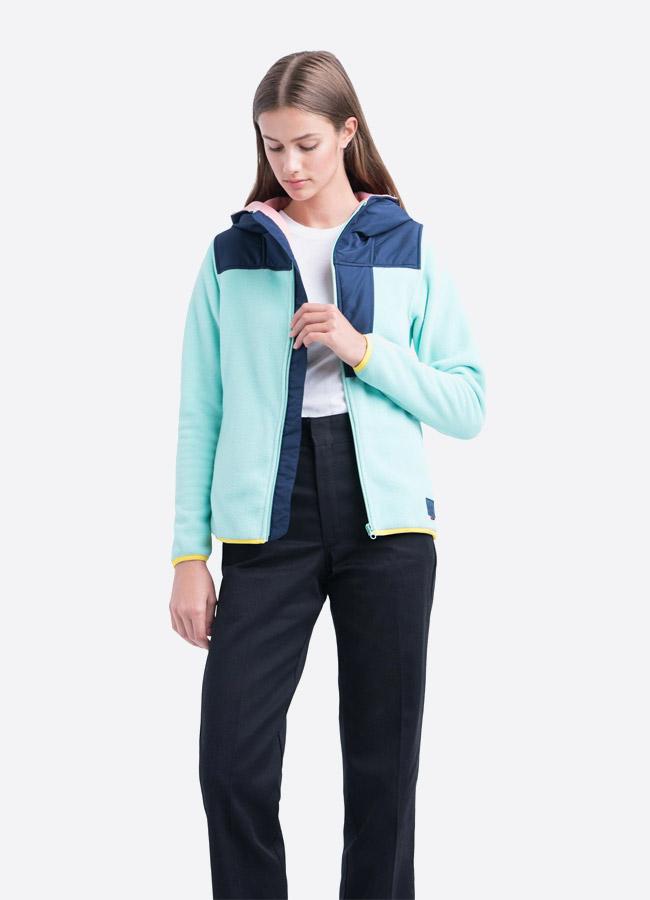 Herschel Supply — fleecová bunda na zip s kapucí — výrazná modrá, tyrkysová — dámská —