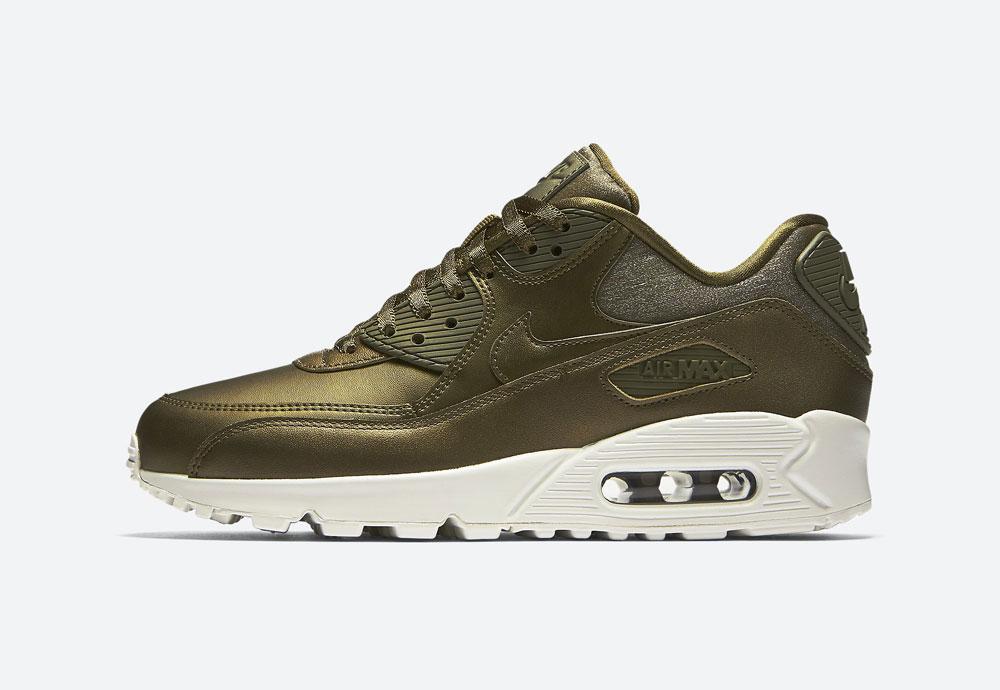 Nike Air Max 90 Premium Metallic — dámské boty — tenisky — metalické — hnědo-zelené — women's metallic mahogany sneakers