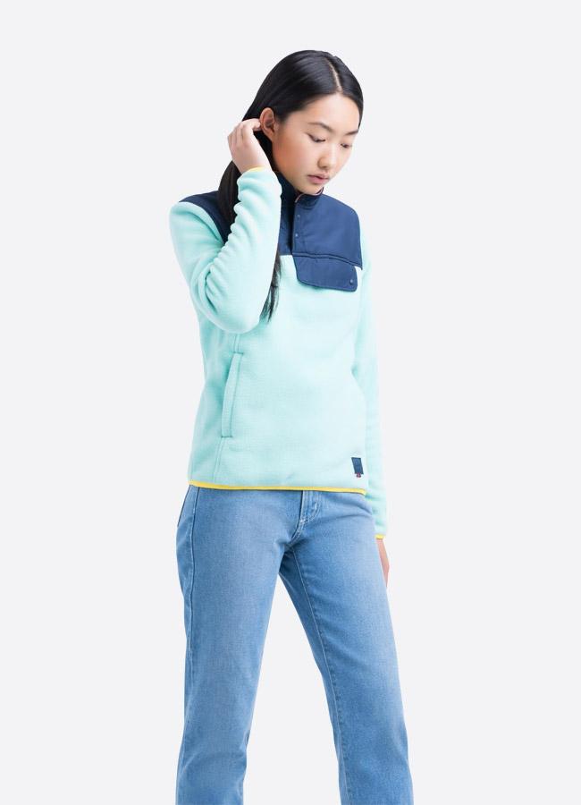 Herschel Supply — fleecový pullover se stojáčkem — bunda bez zipu — výrazná modrá, tyrkysová — dámská