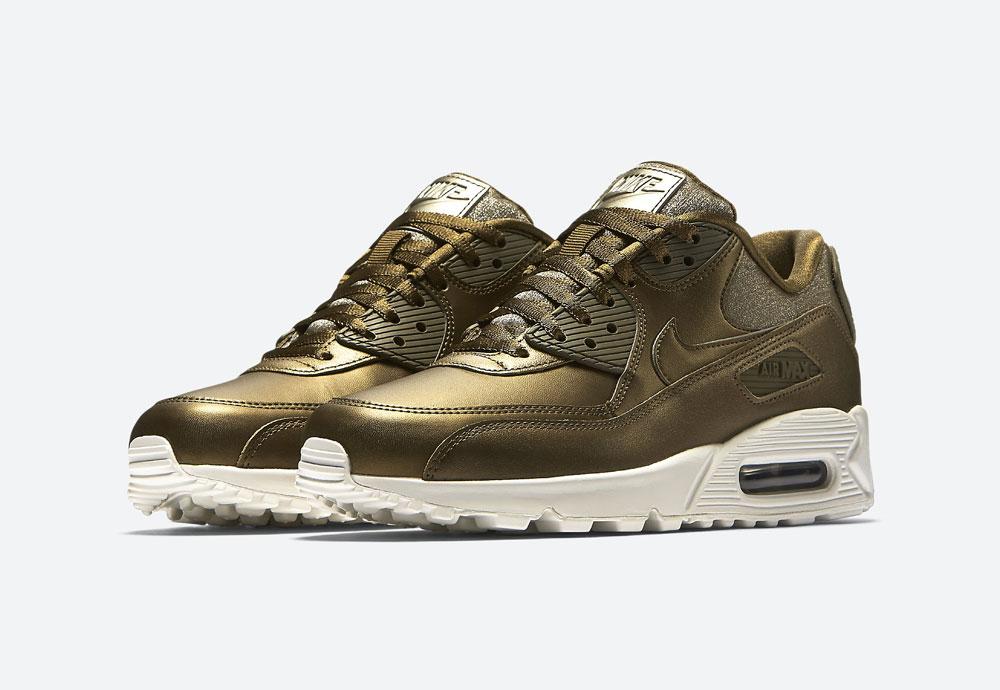 Nike Air Max 90 Premium Metallic — dámské tenisky — boty — metalické — hnědo-zelené — women's metallic mahogany sneakers