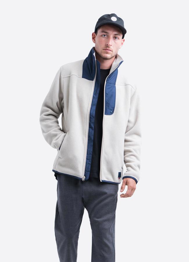 Herschel Supply — fleecová bunda se stojáčkem bez na zip bez kapuce — světle šedá — pánská —