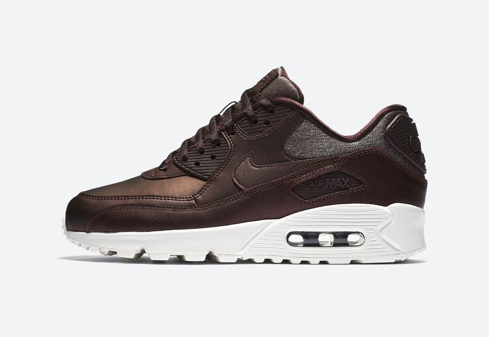 Nike Air Max 90 Premium Metallic — dámské boty — tenisky — metalické — mahagonové, tmavě hnědé — women's metallic field sneakers
