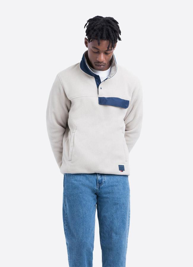 Herschel Supply — fleecový pullover se stojáčkem — bunda bez zipu — světle šedá — pánská