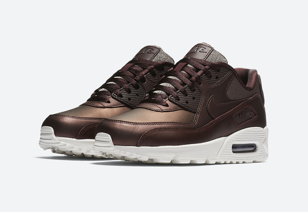 Nike Air Max 90 Premium Metallic — dámské tenisky — boty — metalické — mahagonové, tmavě hnědé — women's metallic field sneakers
