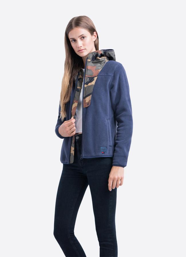 Herschel Supply — fleecová bunda na zip s kapucí — modrá — dámská —