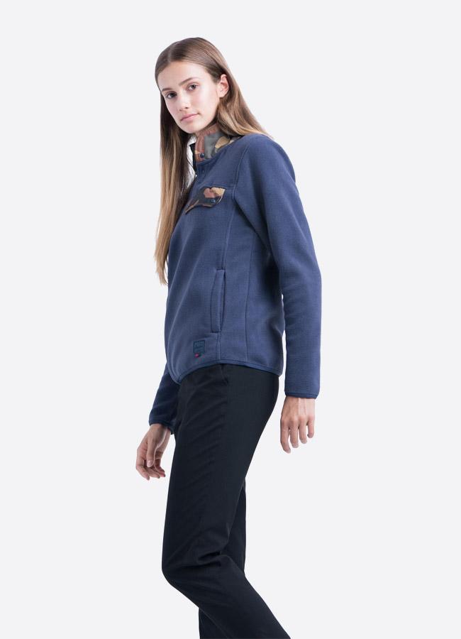 Herschel Supply — fleecový pullover se stojáčkem — bunda bez zipu — modrá — dámská