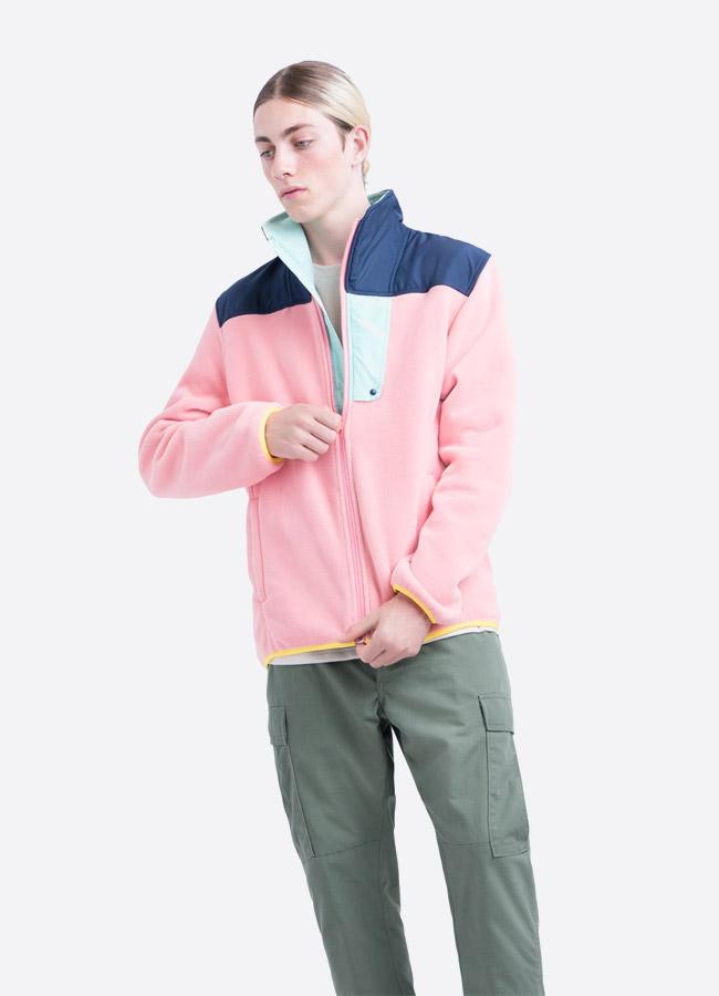 Herschel Supply — fleecová bunda se stojáčkem bez na zip bez kapuce — růžová — pánská —