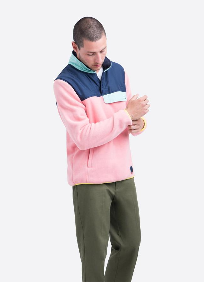 Herschel Supply — fleecový pullover se stojáčkem — bunda bez zipu — růžová — pánská
