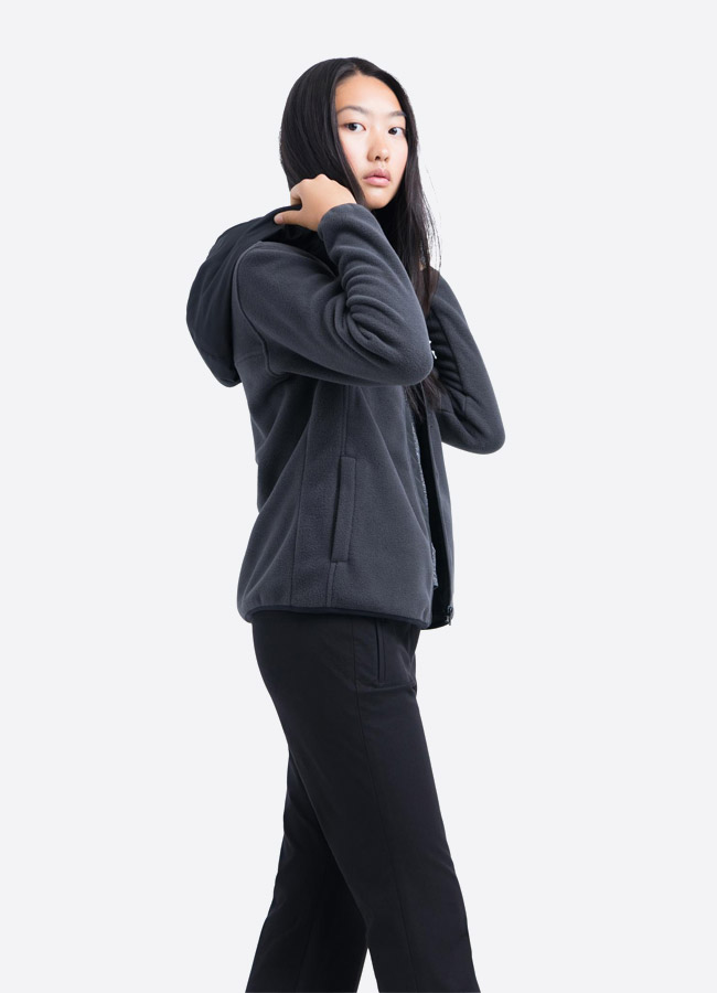 Herschel Supply — fleecová bunda na zip s kapucí — tmavě šedá — dámská —