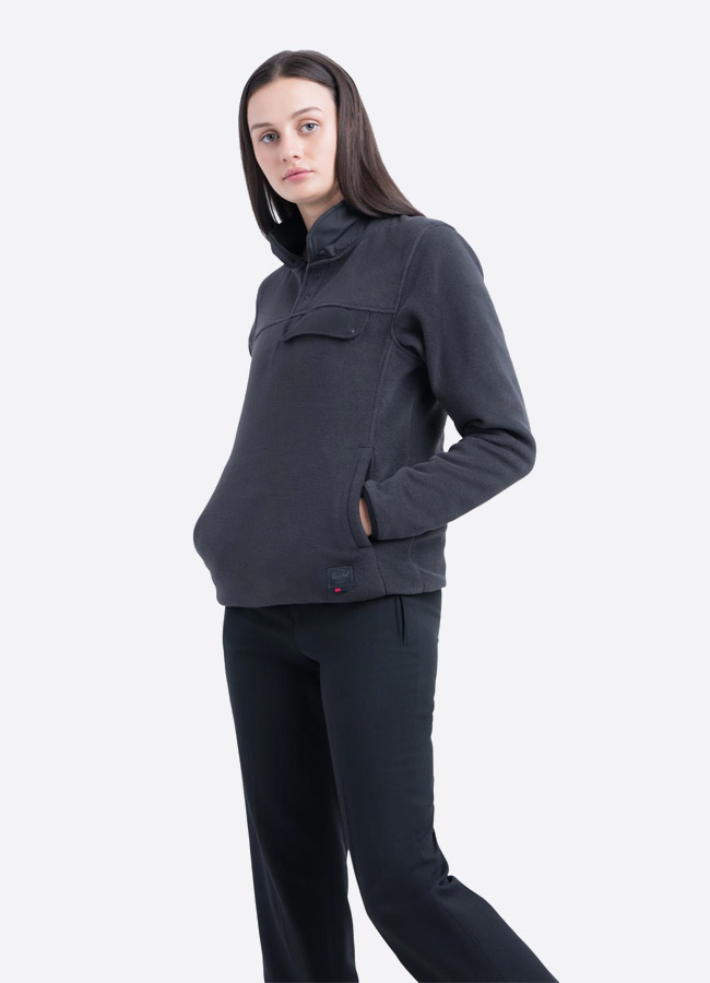 Herschel Supply — fleecový pullover se stojáčkem — bunda bez zipu — tmavě šedá — dámská