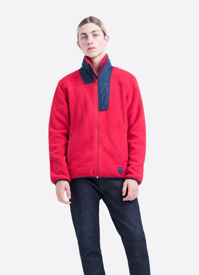 Herschel Supply — fleecová bunda se stojáčkem bez na zip bez kapuce — červená — pánská —