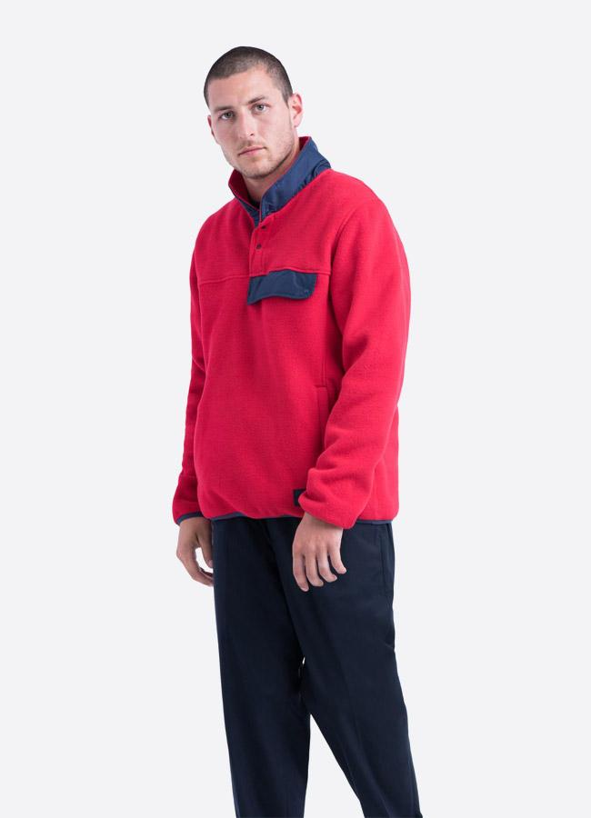 Herschel Supply — fleecový pullover se stojáčkem — bunda bez zipu — červená — pánská