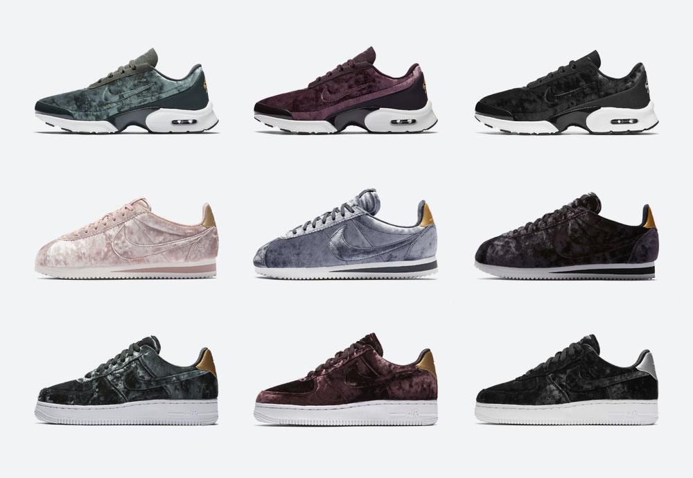 Nike Velvet — dámské boty — tenisky — sametové, plyšové — zelené — women's sneakers, velvet shoes