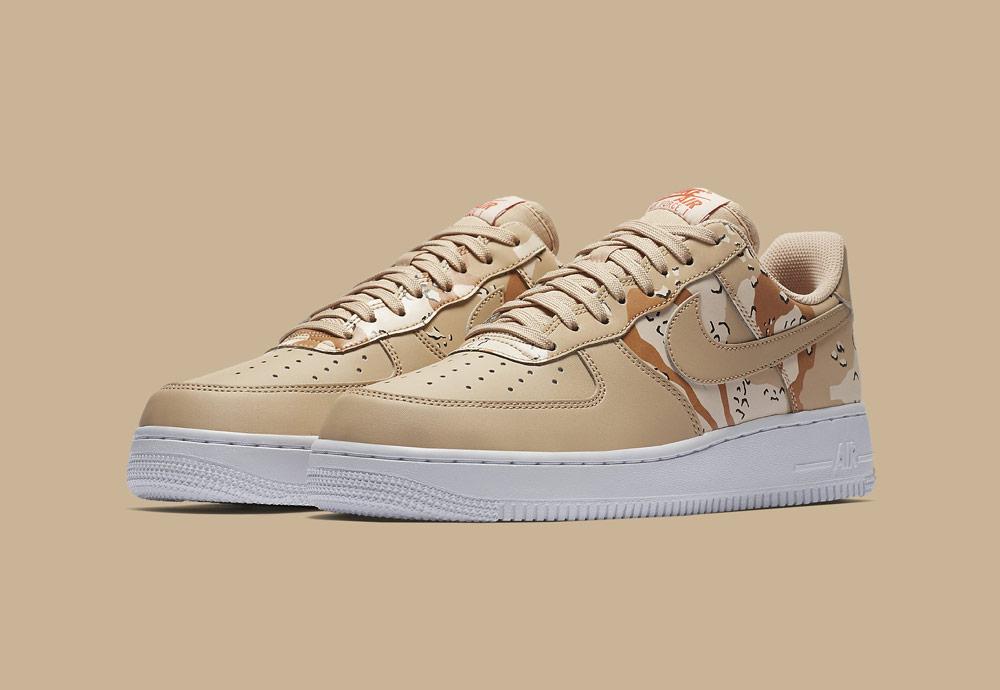 Nike Air Force 1 Low 07 LV8 Camo — maskáčové boty — tenisky — pánské — béžové, pískové, hnědé — men's camo sneakers — beige, brown, sand — shoes