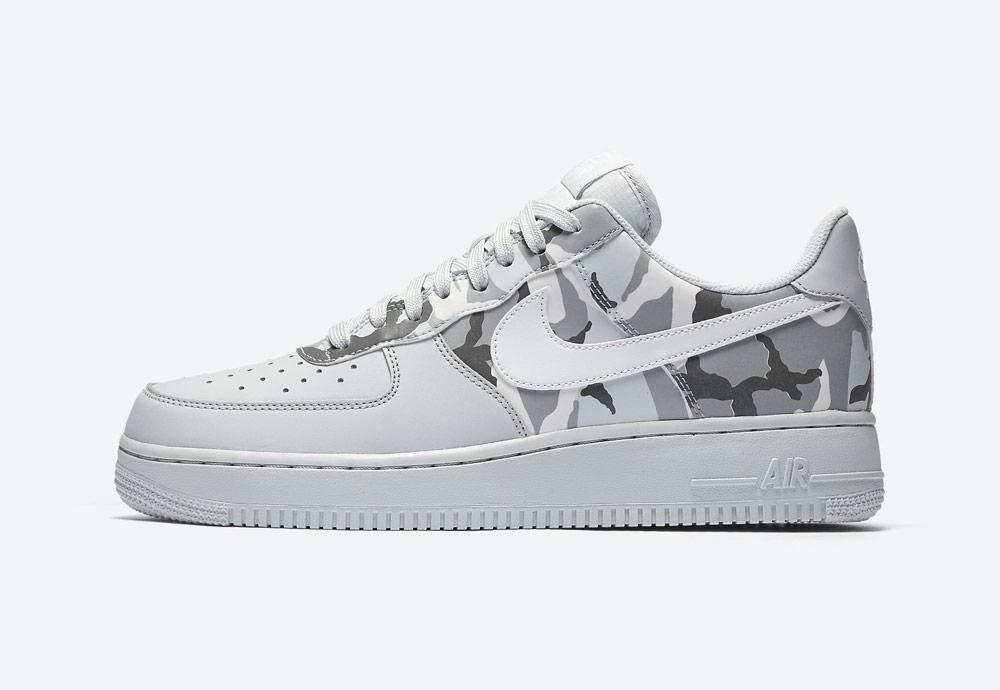 Nike Air Force 1 Low 07 LV8 Camo — maskáčové boty — tenisky — pánské — šedé — men's camo sneakers — grey — shoes