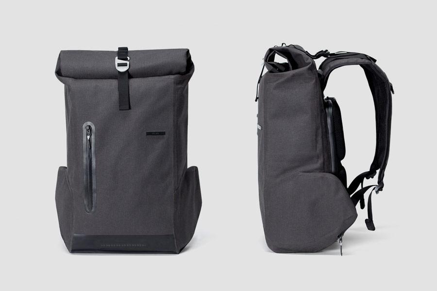 Visvo Novel 3.0 Backpack — hi-tech batoh s osvětlením a power bankou — šedý — cyklistický batoh — grey hi-tech backpack with power bank and lights — city cyclist backpack