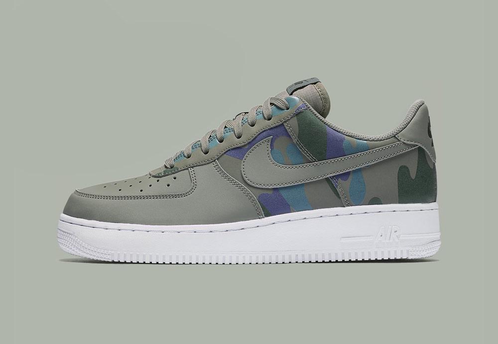 Nike Air Force 1 Low 07 LV8 Camo — maskáčové boty — tenisky — pánské — tmavě zelené — men's camo sneakers — dark green — shoes